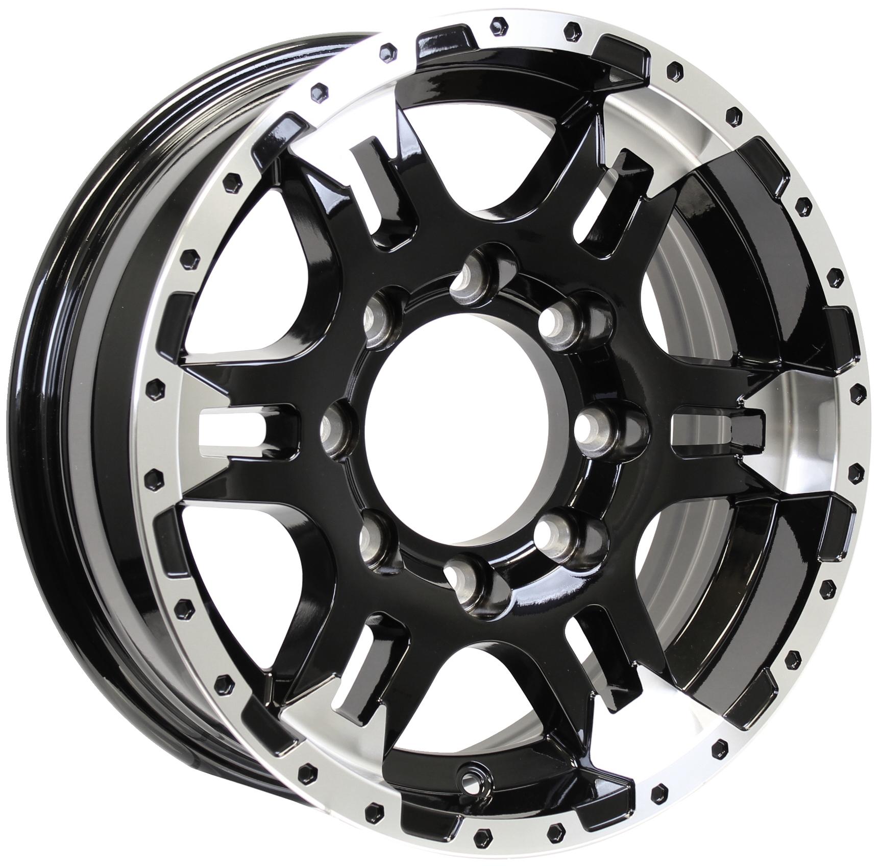 Turismo 16x6; 8-6.5 Black/Machine Aluminum Trailer Wheel Image