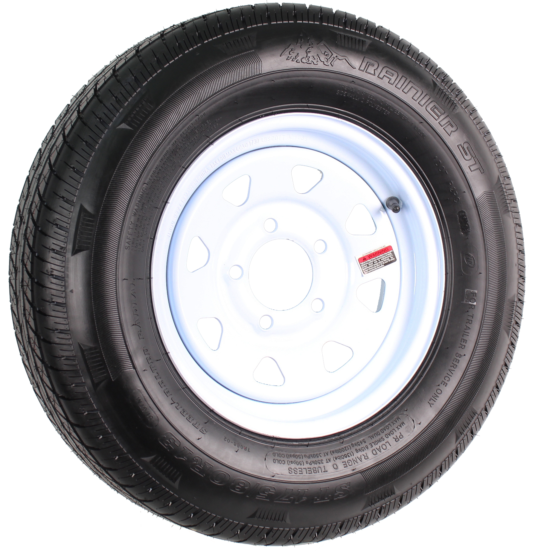 "Rainier ST175/80R13 LRD Radial on 13"" 5-Lug White Spoke Assembly Image"