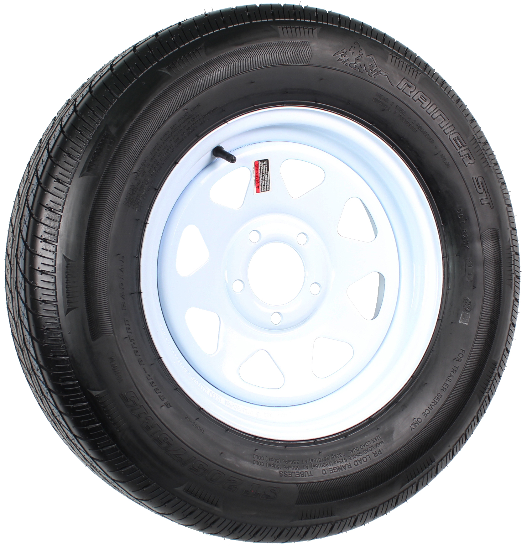 "Rainier ST205/75R15 LRD Radial on 15"" 5-Lug White Spoke Assembly Image"