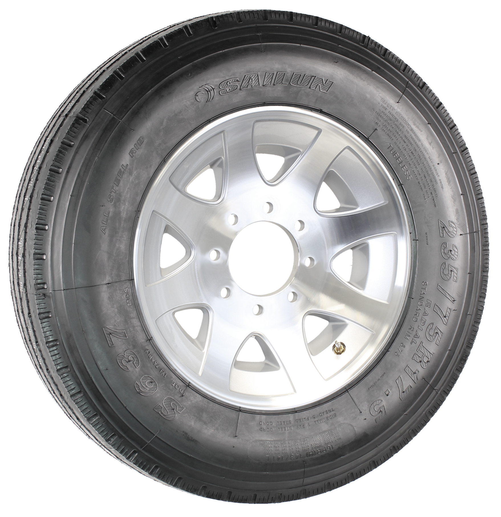 "Sailun 235/75R17.5 LRH Radial Tire on 17.5"" 8-Lug YF Aluminum Spoke Assembly Image"