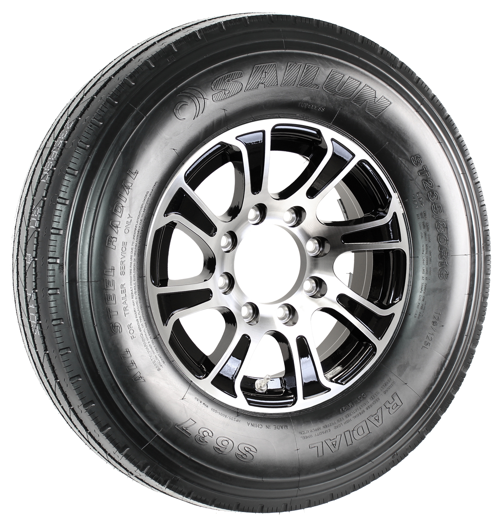 Sailun ST235/80R16G Trailer Tire on a Summit 16x6 8-6.5 Black/Machine Aluminum Wheel Assembly Image