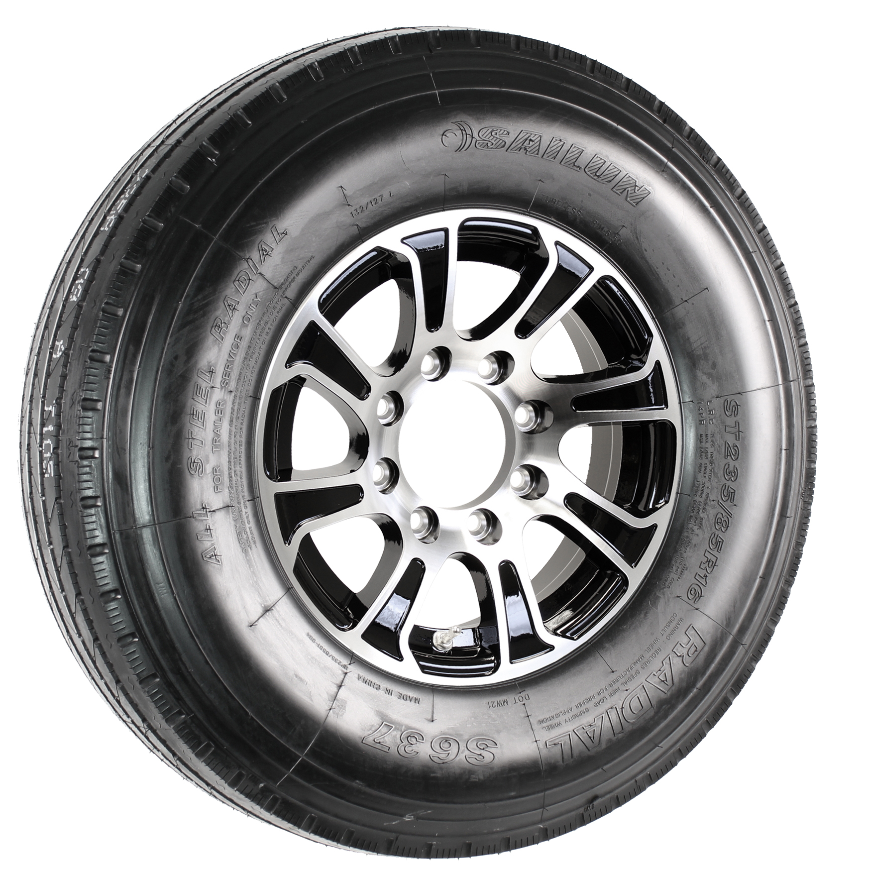 Sailun ST235/85R16G Trailer Tire on a Summit 16x6 8-6.5 Black/Machine Aluminum Wheel Assembly Image