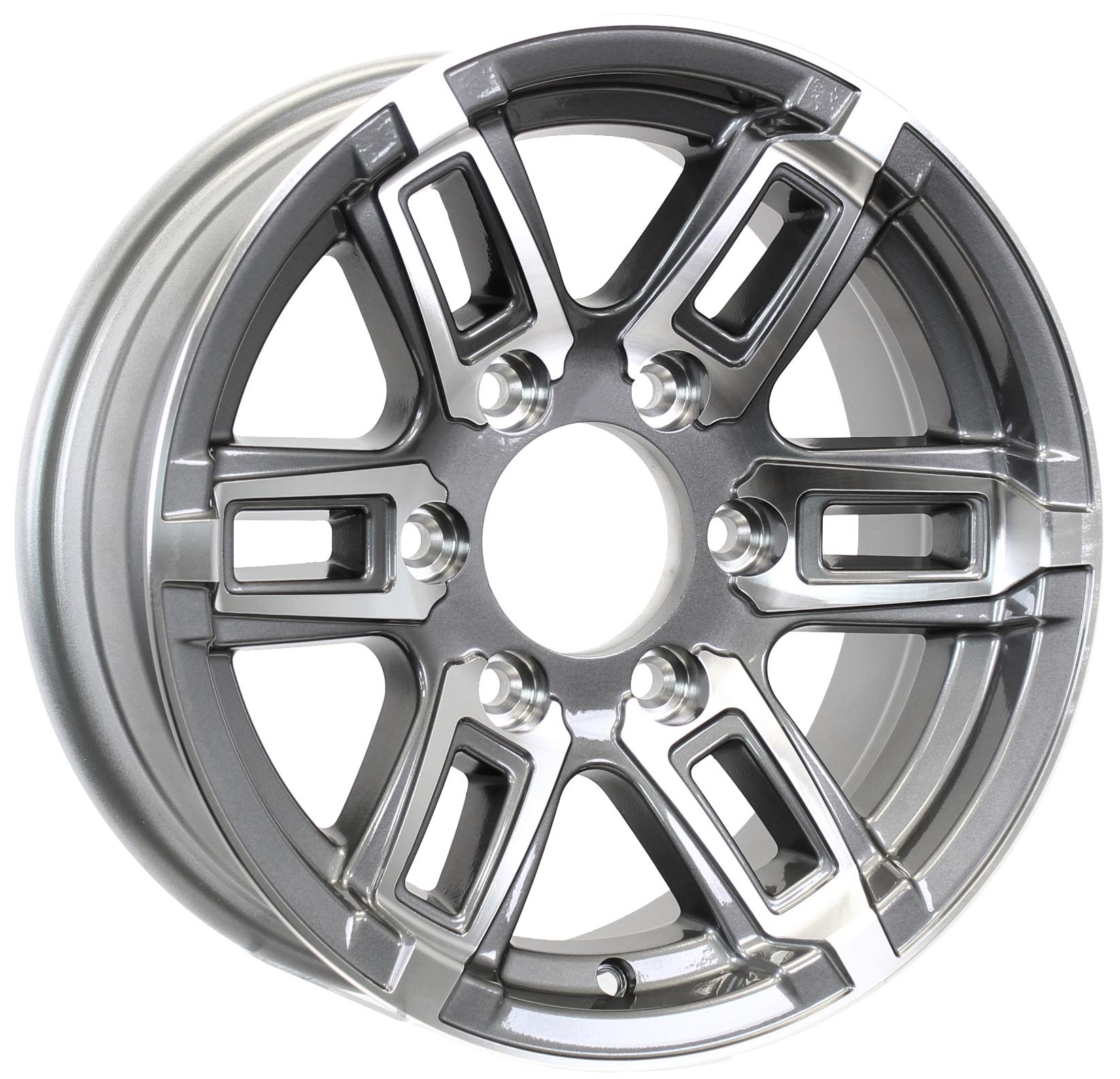 T06- 15x6 6-Lug Gun Metal Aluminum Trailer Wheel  Image