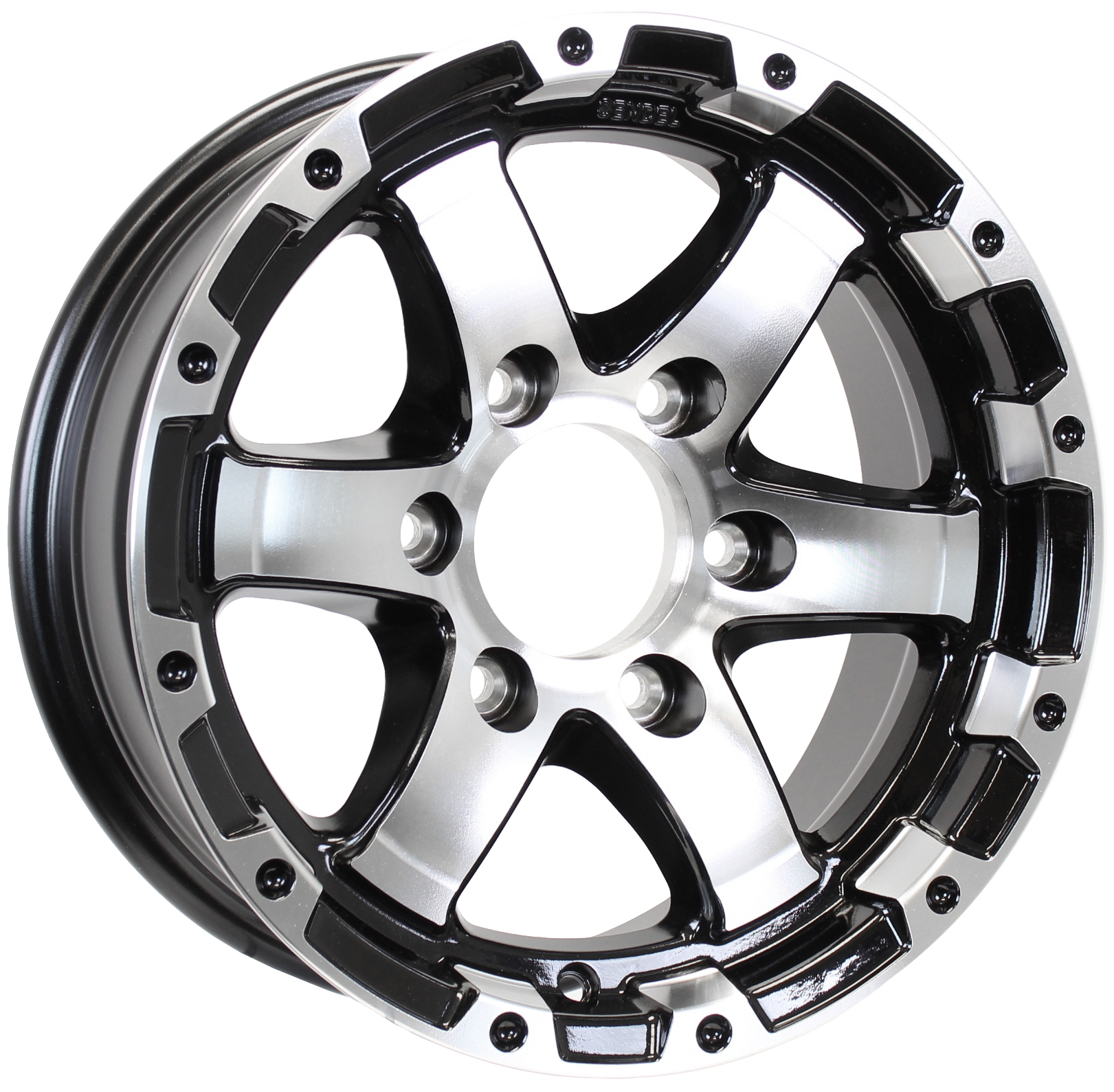 T08- 15x6 6-Lug Black Machine/Lipped Silver Aluminum Trailer Wheel Image