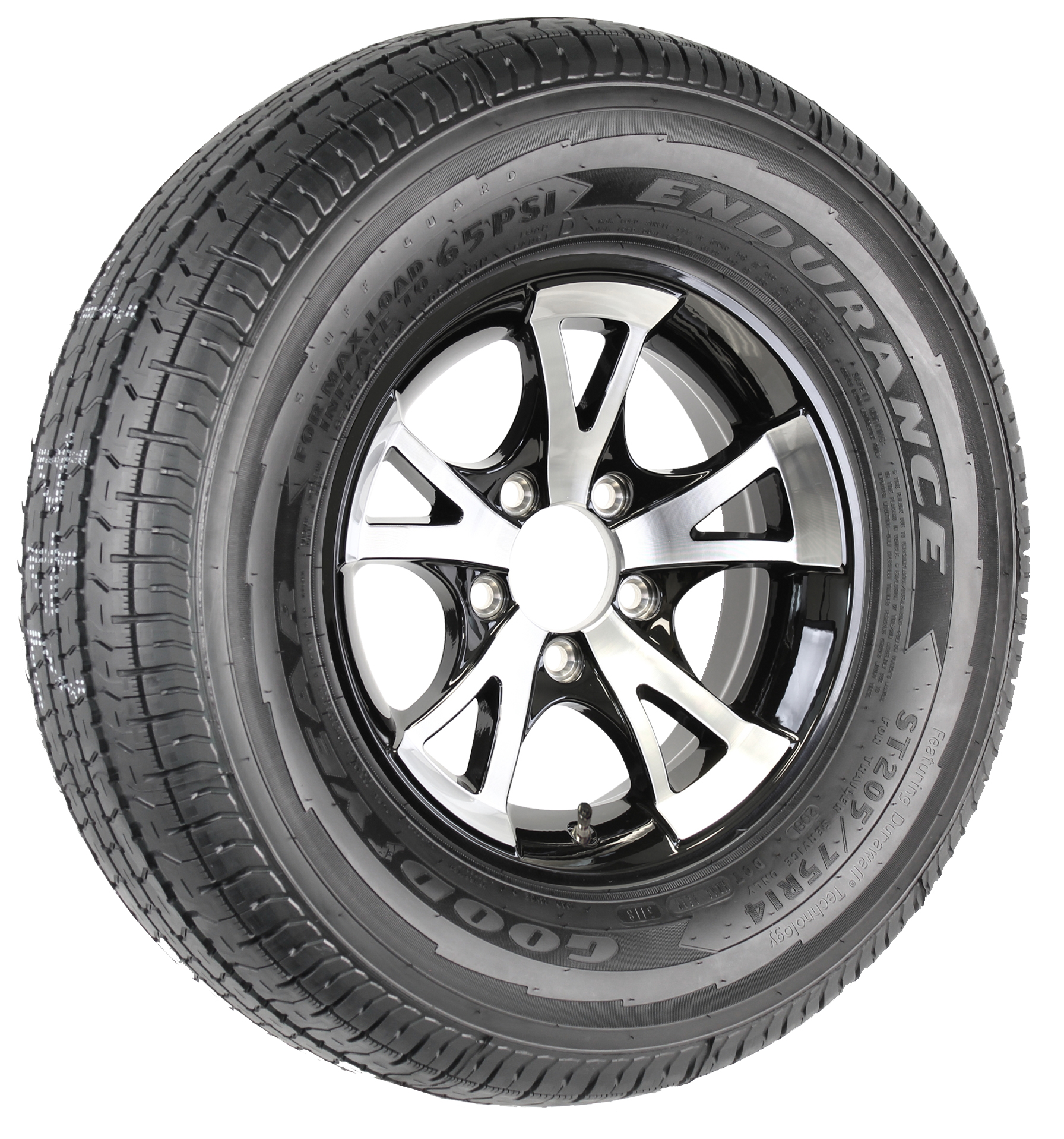 "Goodyear Endurance ST205/75R14 LRD Radial Tire on 14"" 5-Lug A1411 Black Aluminum Assembly Image"
