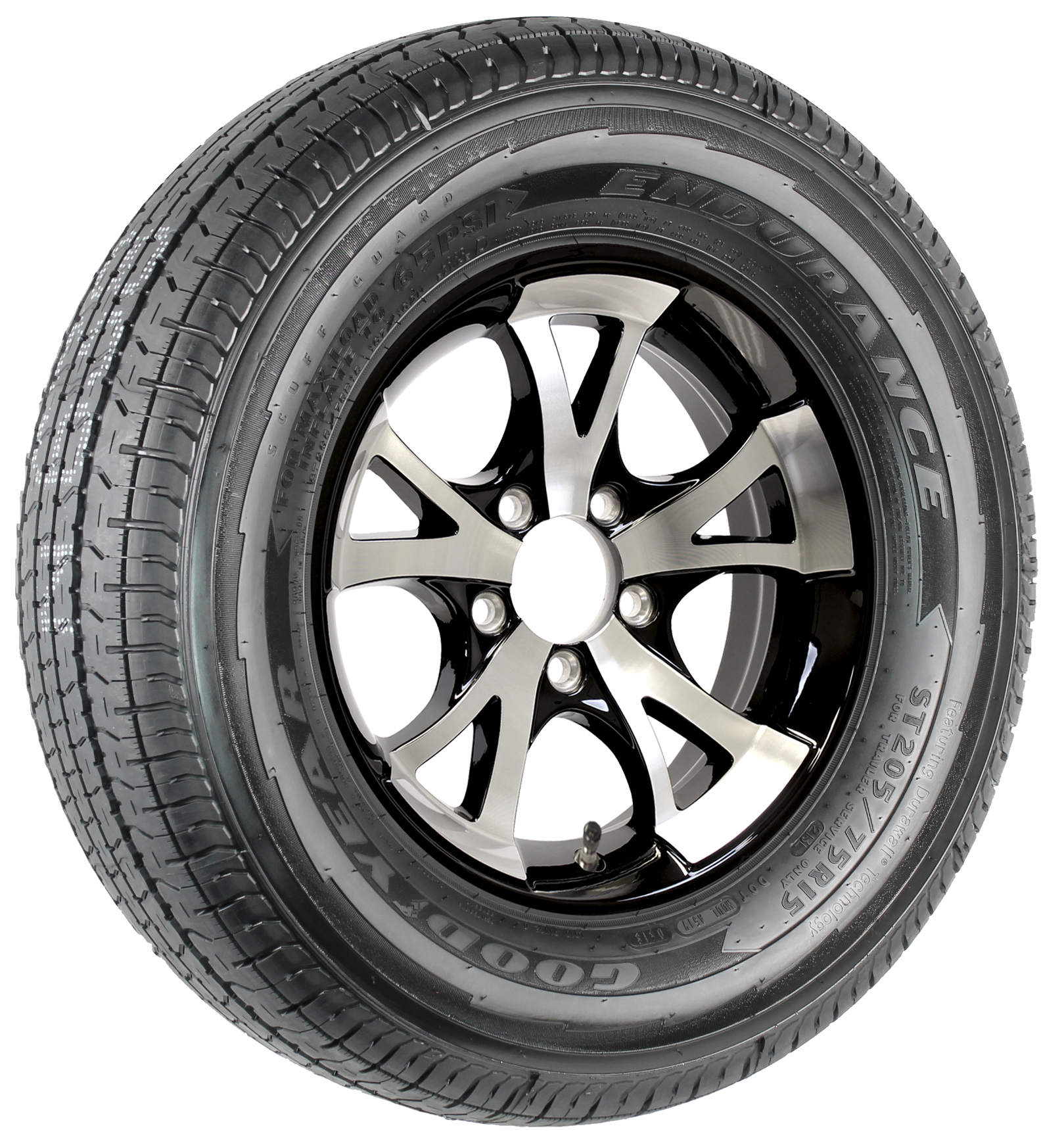 "Goodyear Endurance ST205/75R15 LRD Radial Tire on 15"" 5-Lug A1411 Black Aluminum Assembly Image"
