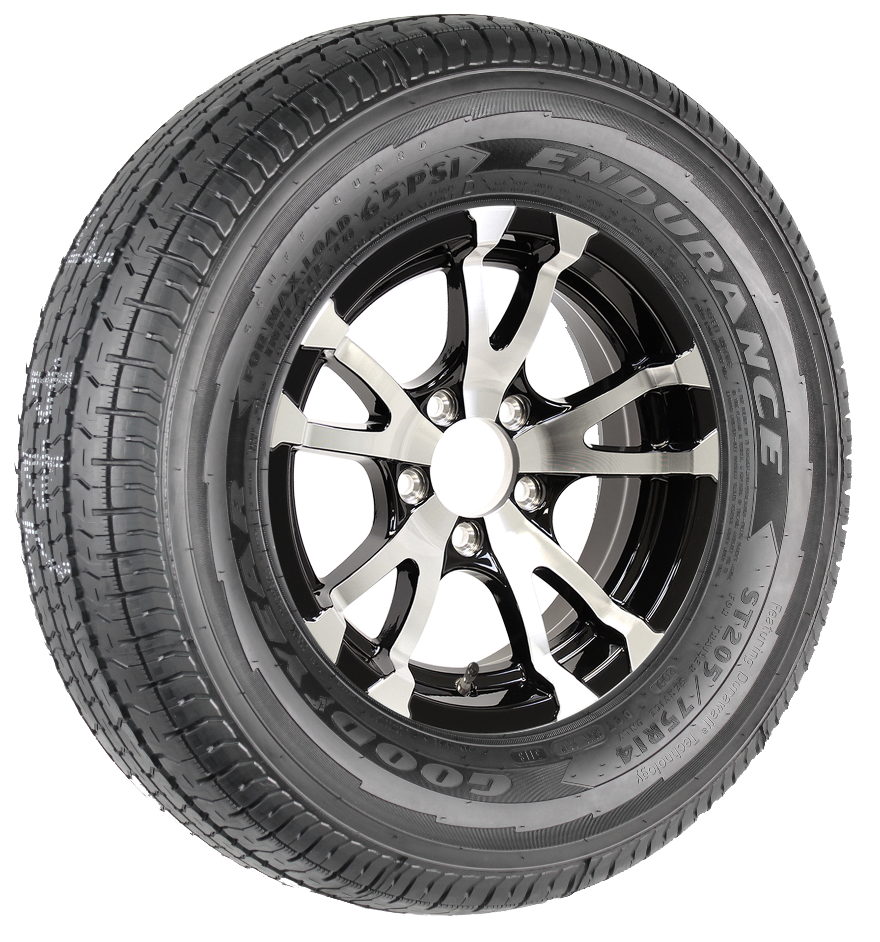 "Goodyear Endurance ST205/75R14 LRD Radial Tire on 14"" 5-Lug Avalanche Black Aluminum Assembly Image"