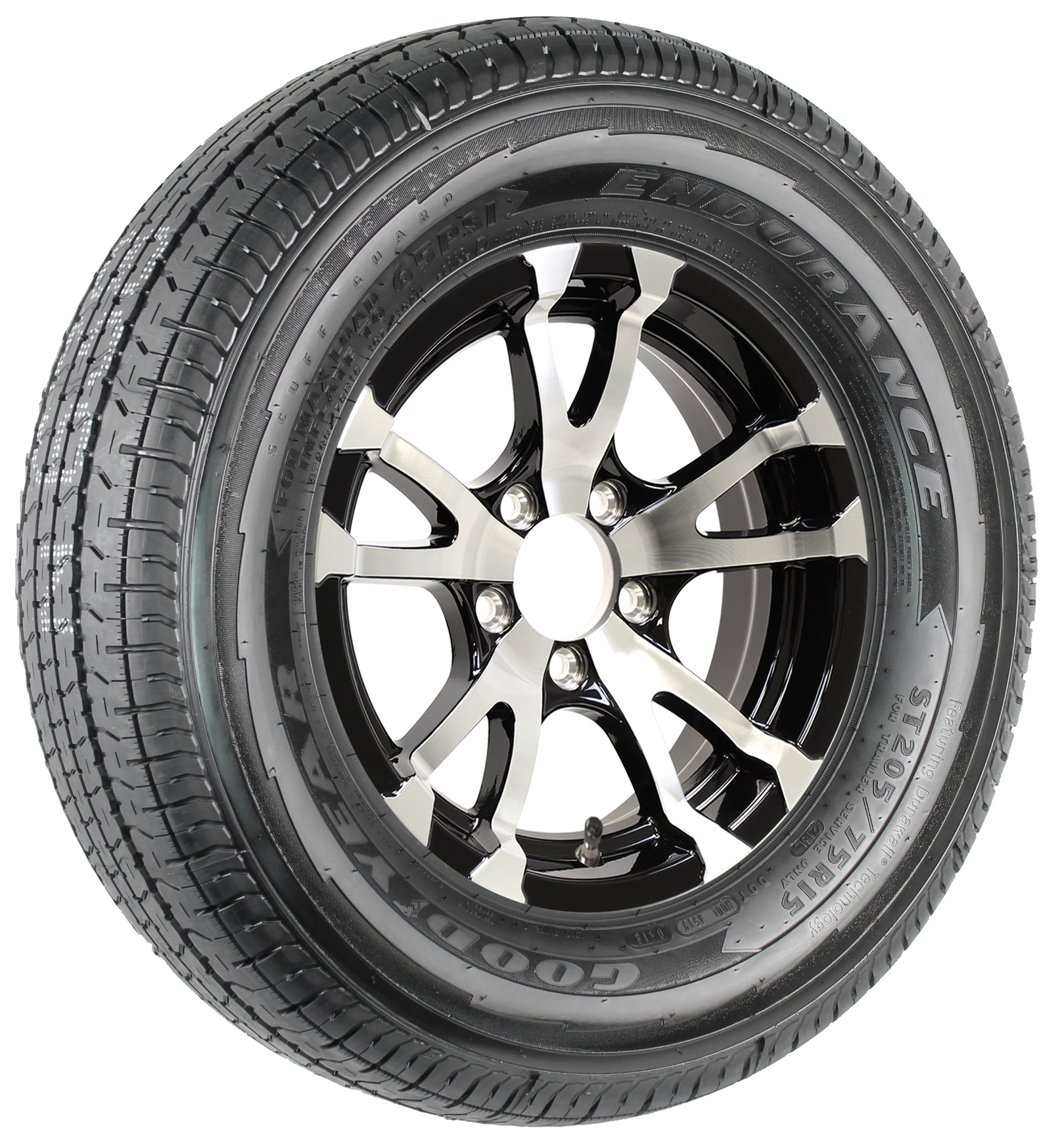 "Goodyear Endurance ST205/75R15 LRD Radial Tire on 15"" 5-Lug Avalanche Black Aluminum Assembly Image"