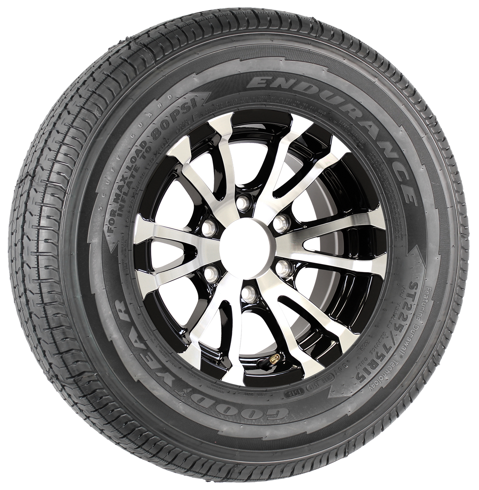 """Goodyear Endurance ST225/75R15 LRE Radial Tire on 15"""" 6-Lug Avalanche Black Aluminum Assembly Image"""