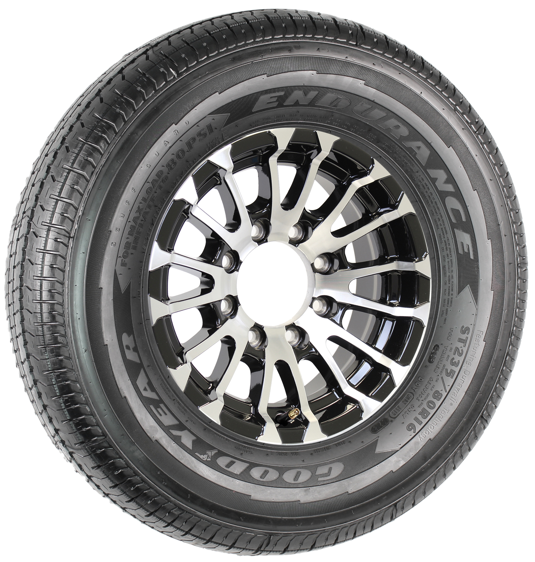 "Goodyear Endurance ST235/80R16 LRE Radial Tire on 16"" 8-Lug Avalanche Black Aluminum Assembly Image"