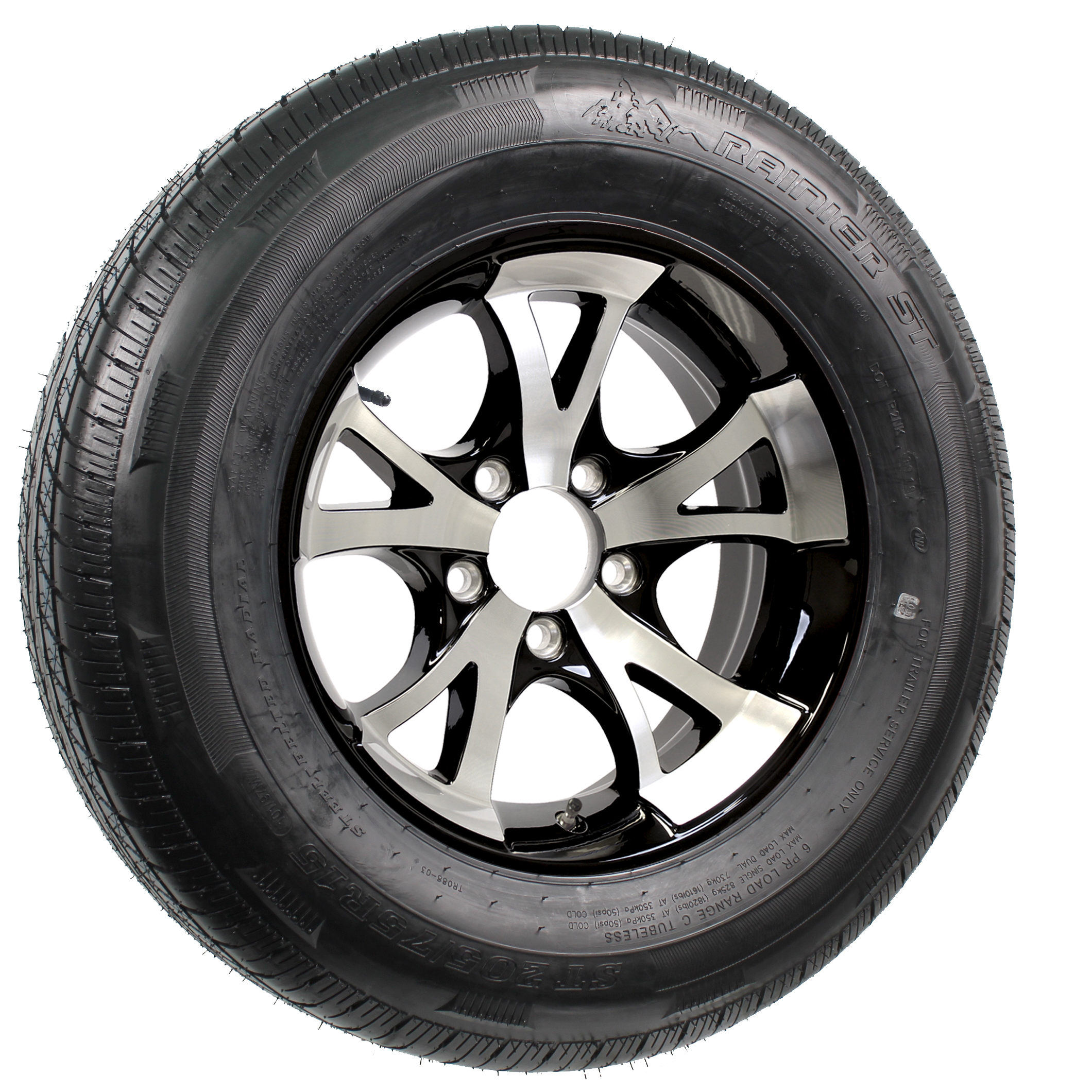 "Rainier ST205/75R15 LRD Radial Tire on 15"" 5-Lug A1411 Black Aluminum Assembly Image"