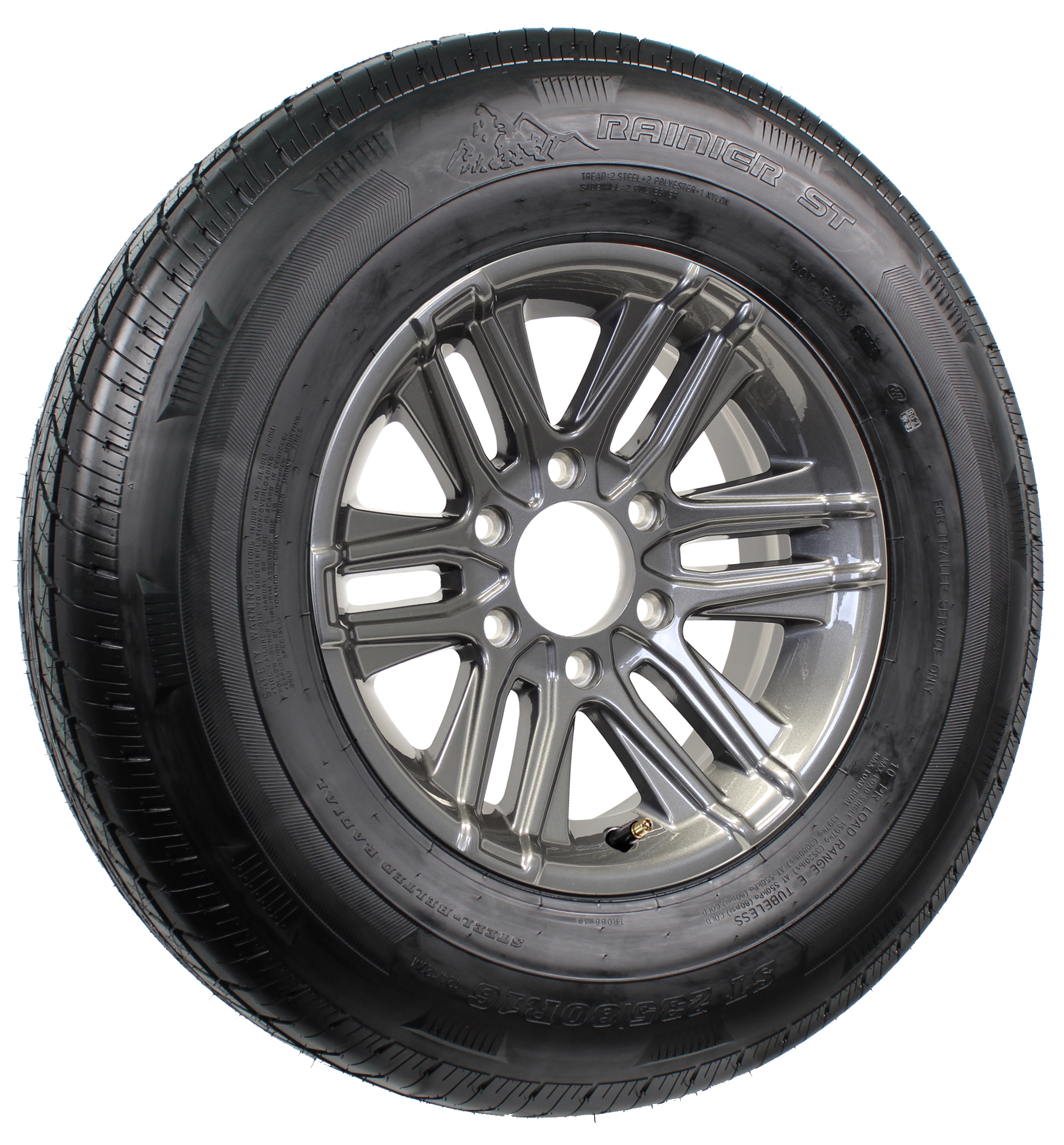 "Rainier ST235/80R16 LRE Radial Tire on 16"" 6-Lug Altitude Gun Metal Full Paint  Aluminum Assembly Image"