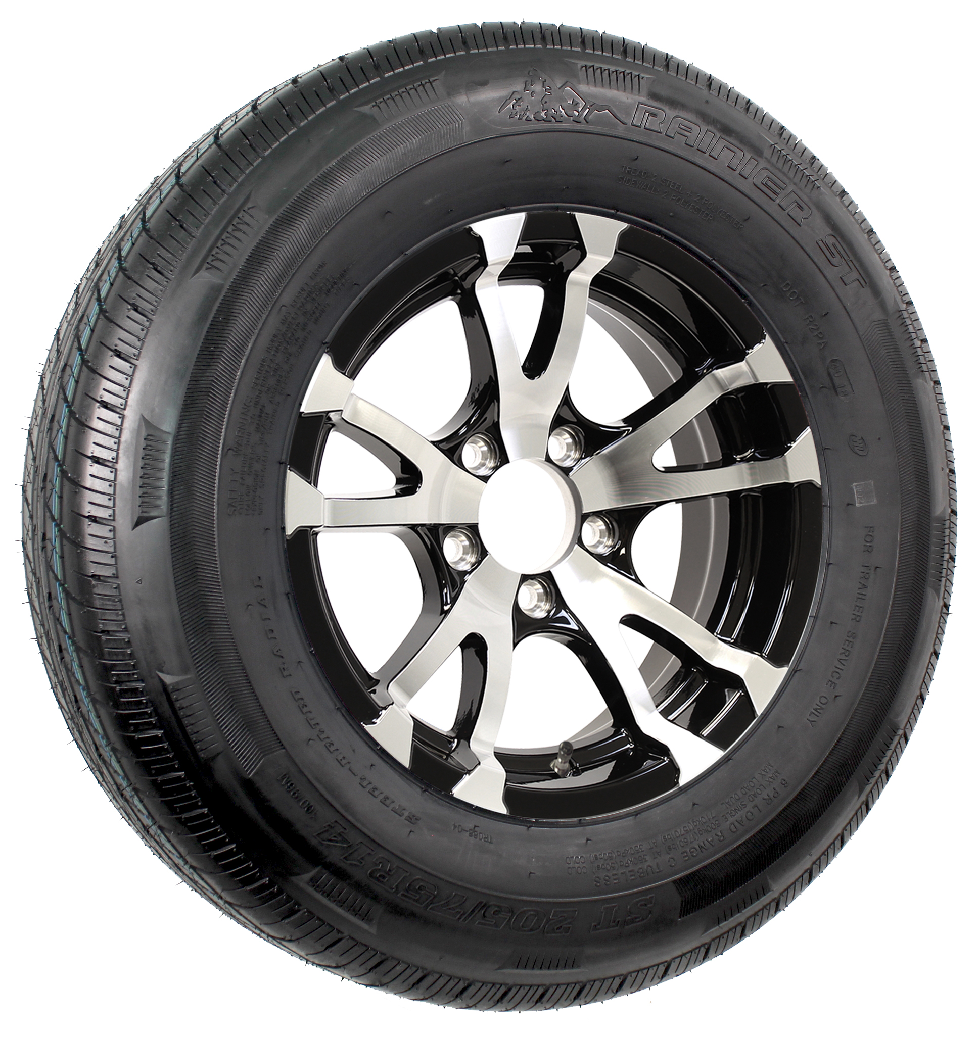 "Rainier ST205/75R14 LRD Radial Tire on 14"" 5-Lug Avalanche Black Aluminum Assembly Image"