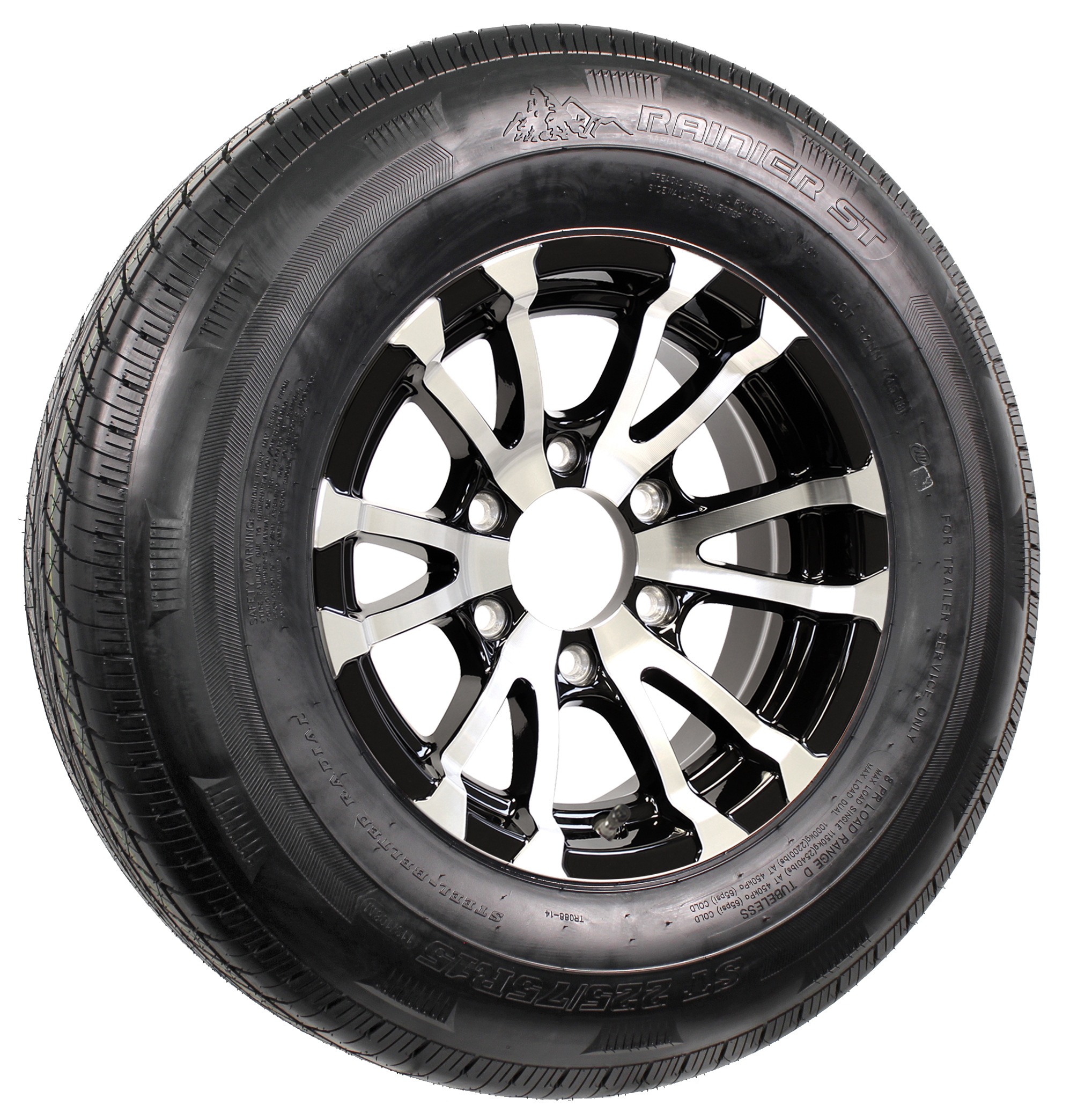 "Rainier ST225/75R15 LRE Radial Tire on 15"" 6-Lug Avalanche Black Aluminum Assembly Image"