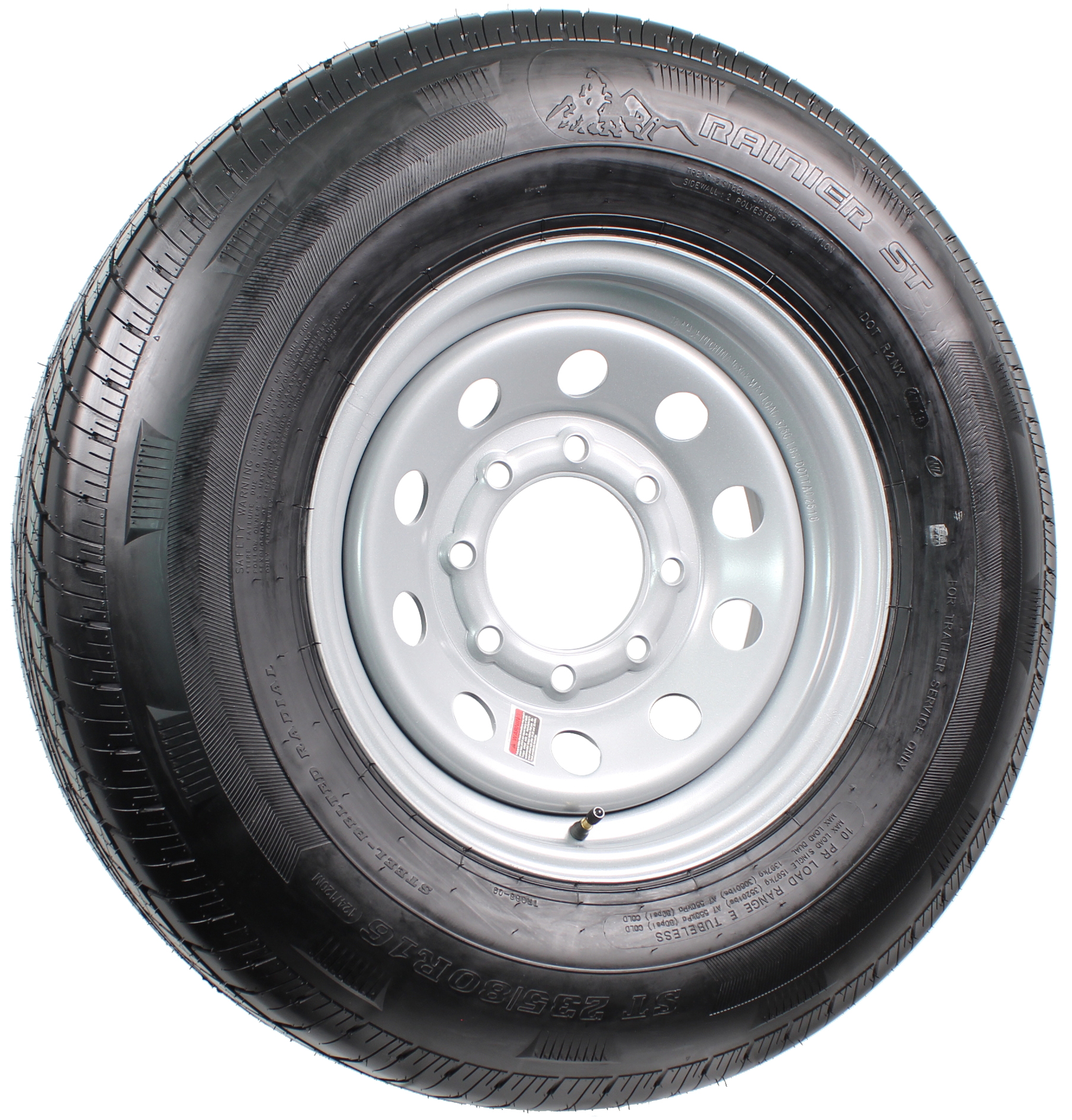 "Rainier ST235/80R16 LRE Radial on 16"" 8-Lug Silver Mod Assembly Image"