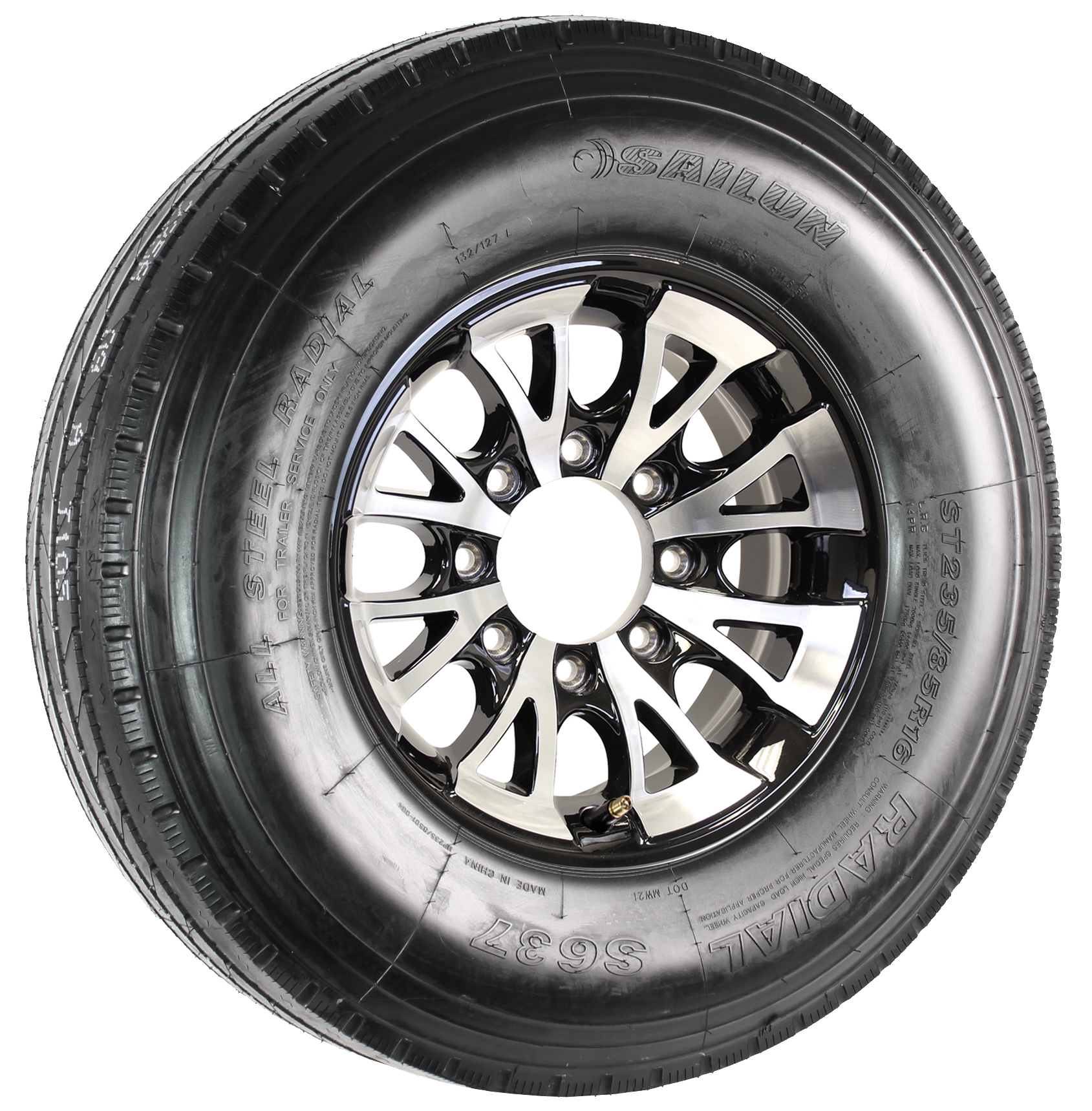 "Sailun ST235/85R16 LRG Radial Tire on 16"" 8-Lug A1411 Black Aluminum Assembly Image"