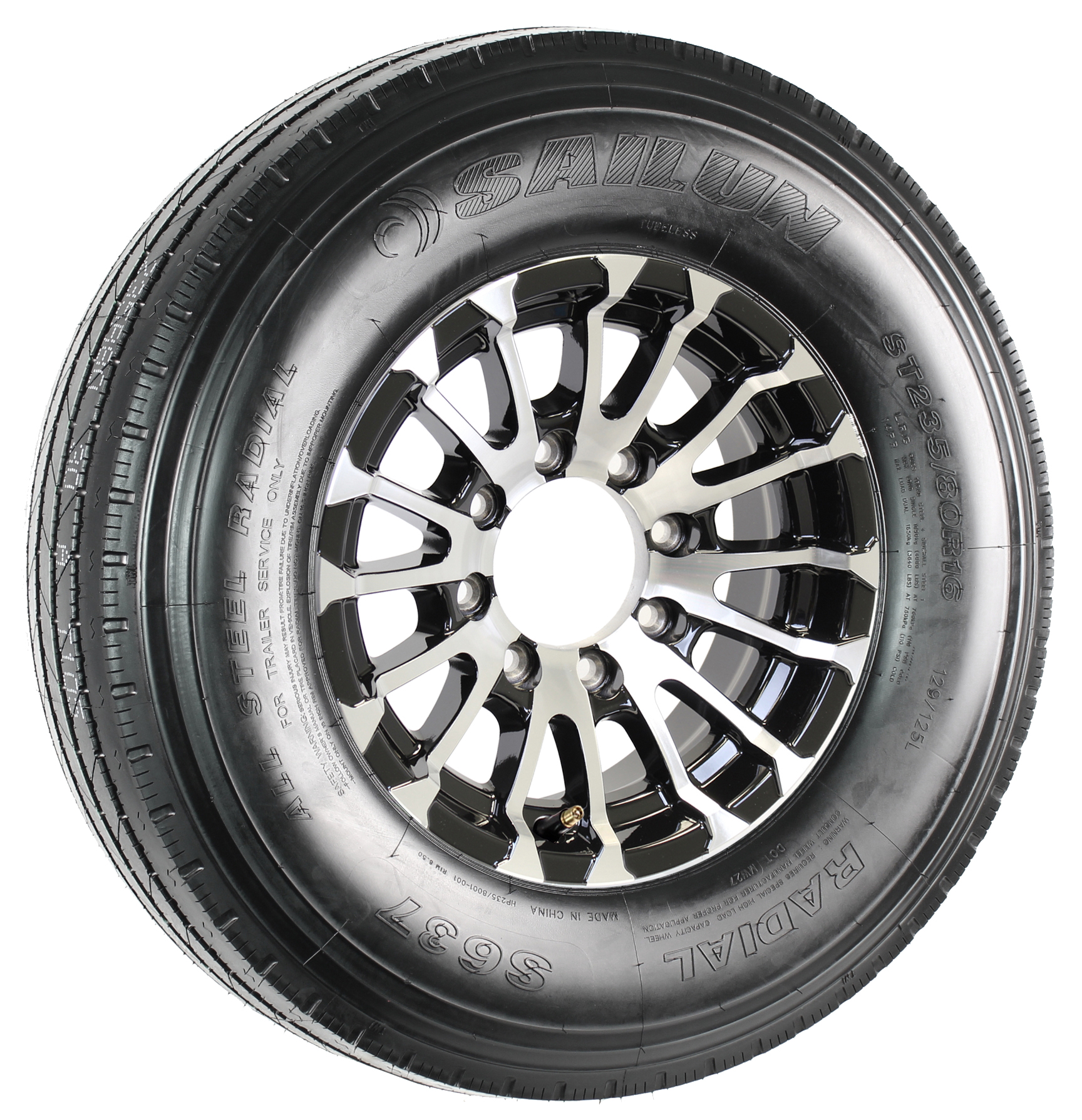 "Sailun ST235/80R16 LRG Radial Tire on 16"" 8-Lug Avalanche Black Aluminum Assembly Image"