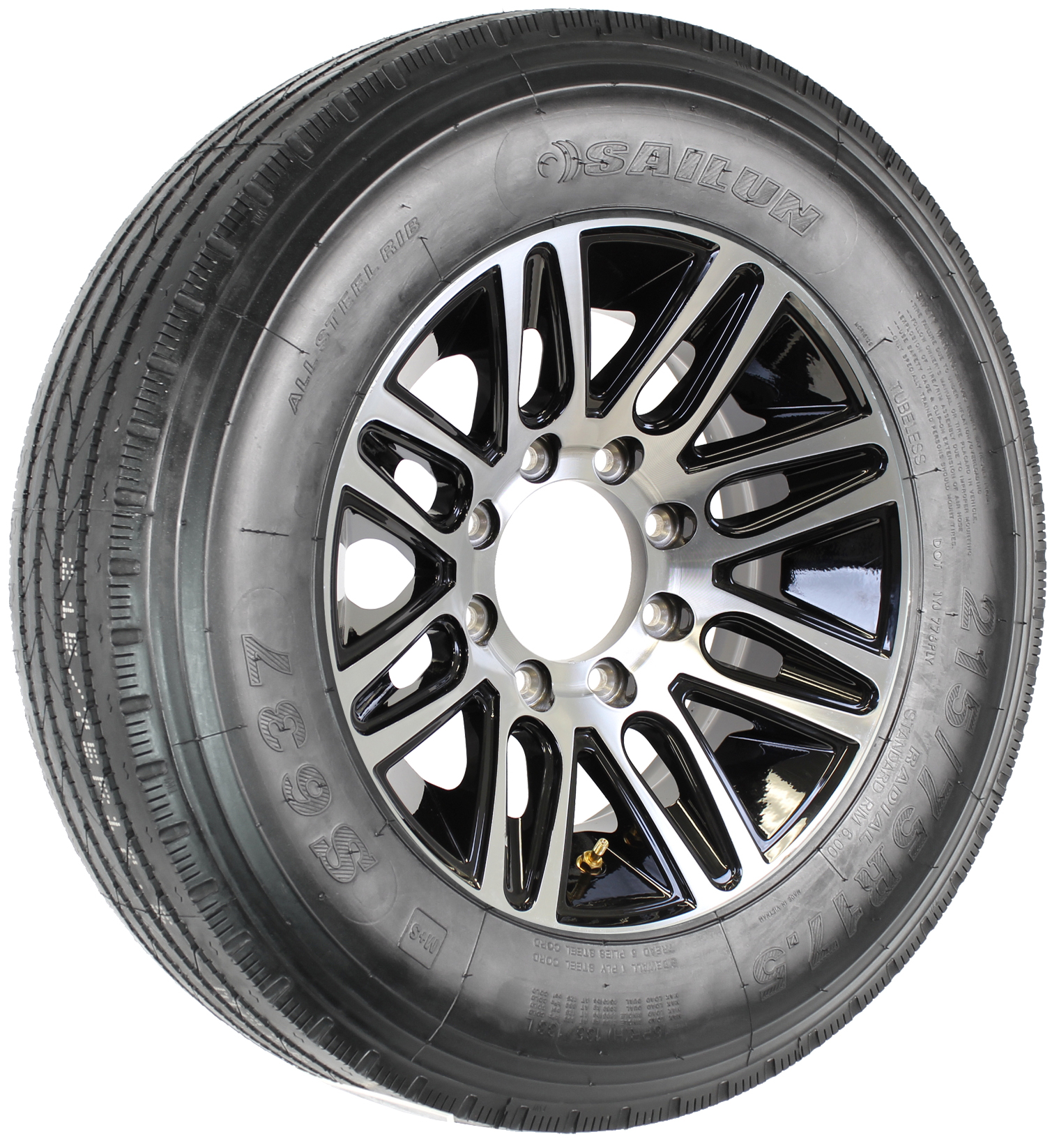 "Sailun 215/75R17.5 LRH Radial Tire on 17.5"" 8-Lug Pinnacle Black Aluminum Assembly Image"