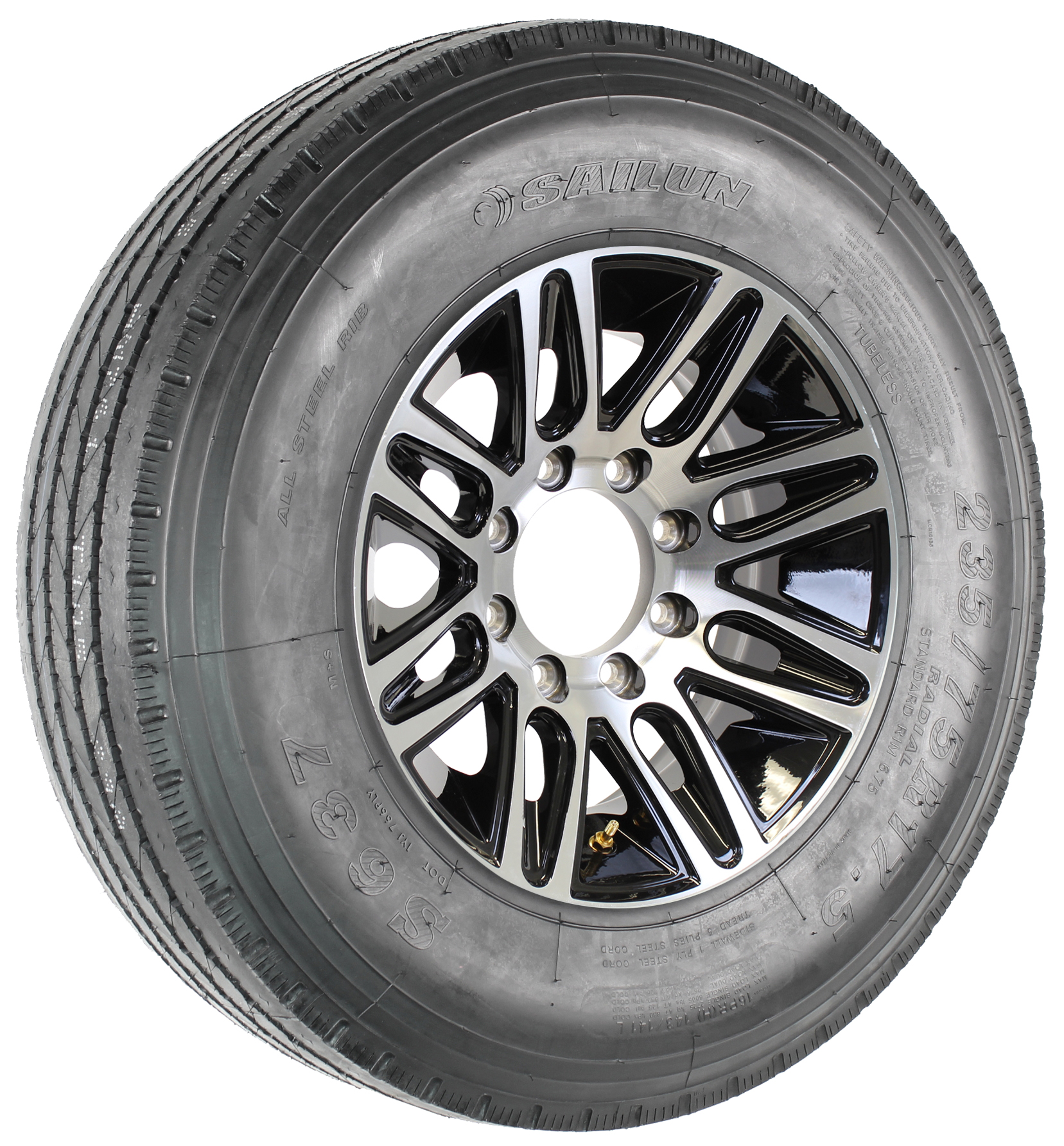 "Sailun 235/75R17.5 LRH Radial tire on 17.5"" 8-Lug Pinnacle Black Aluminum Assembly Image"