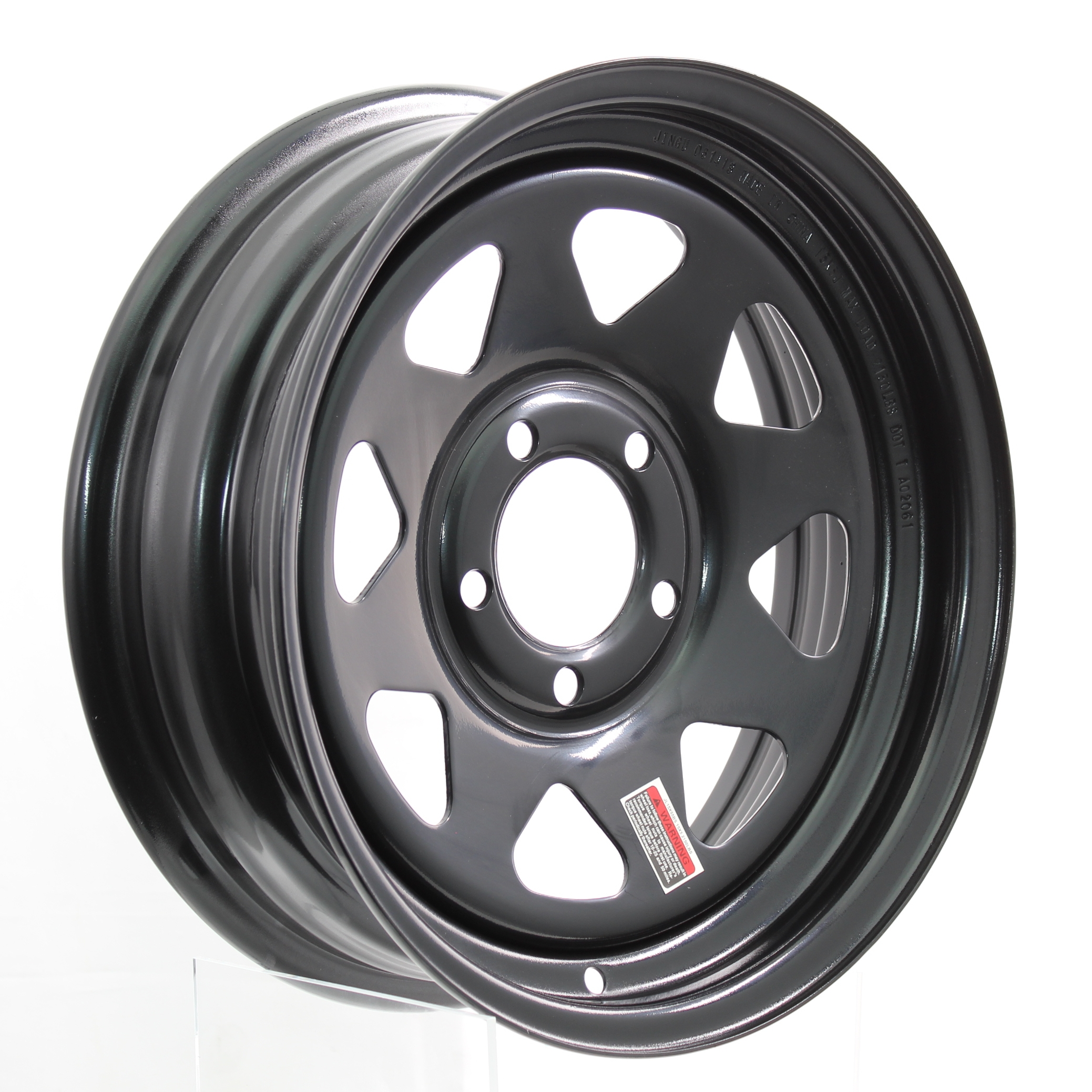 15x5 5-Lug Black Spoke Steel Trailer Wheel Image