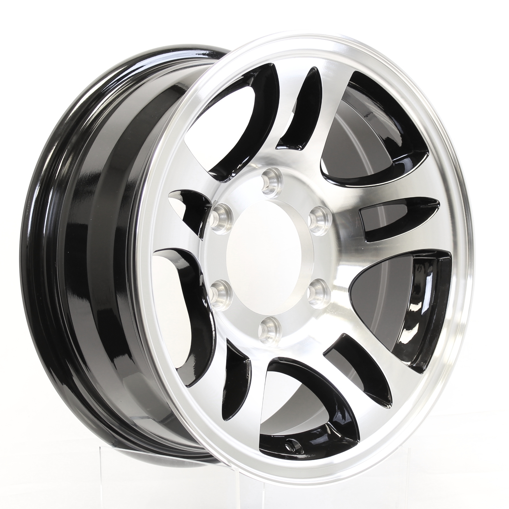 "T03 15"" 6-Lug Black Aluminum Trailer Wheel Image"