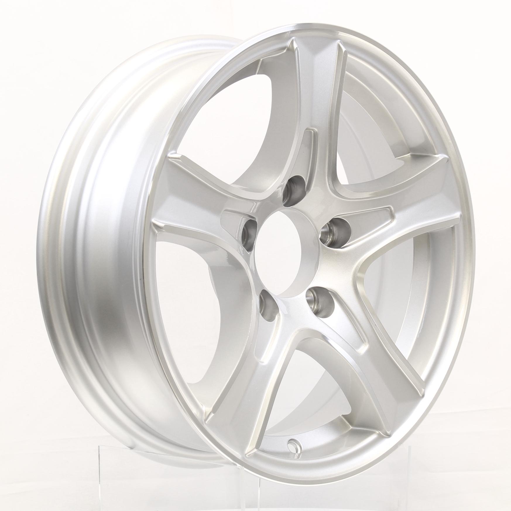 Thoroughbred 15x5 5-Lug Silver Aluminum Trailer Wheel Image