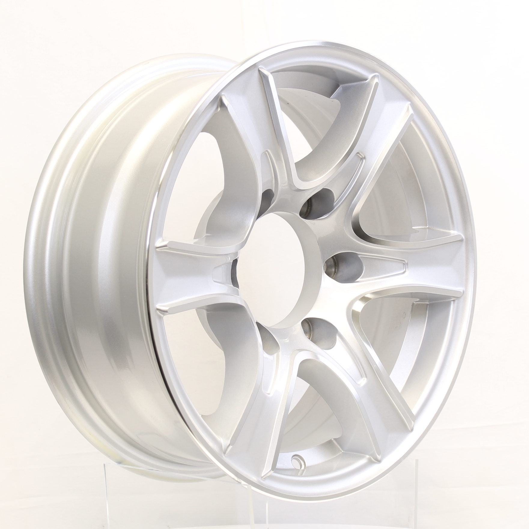 Thoroughbred- 15x6 6-Lug Silver Aluminum Trailer Wheel Image