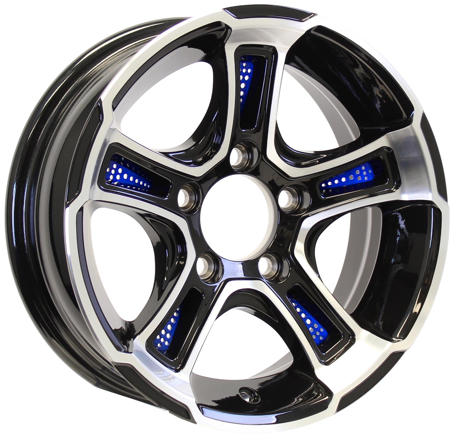 White Hawk 14x5.5 5-4.5 Black with Blue Inserts Aluminum Trailer Wheel Image