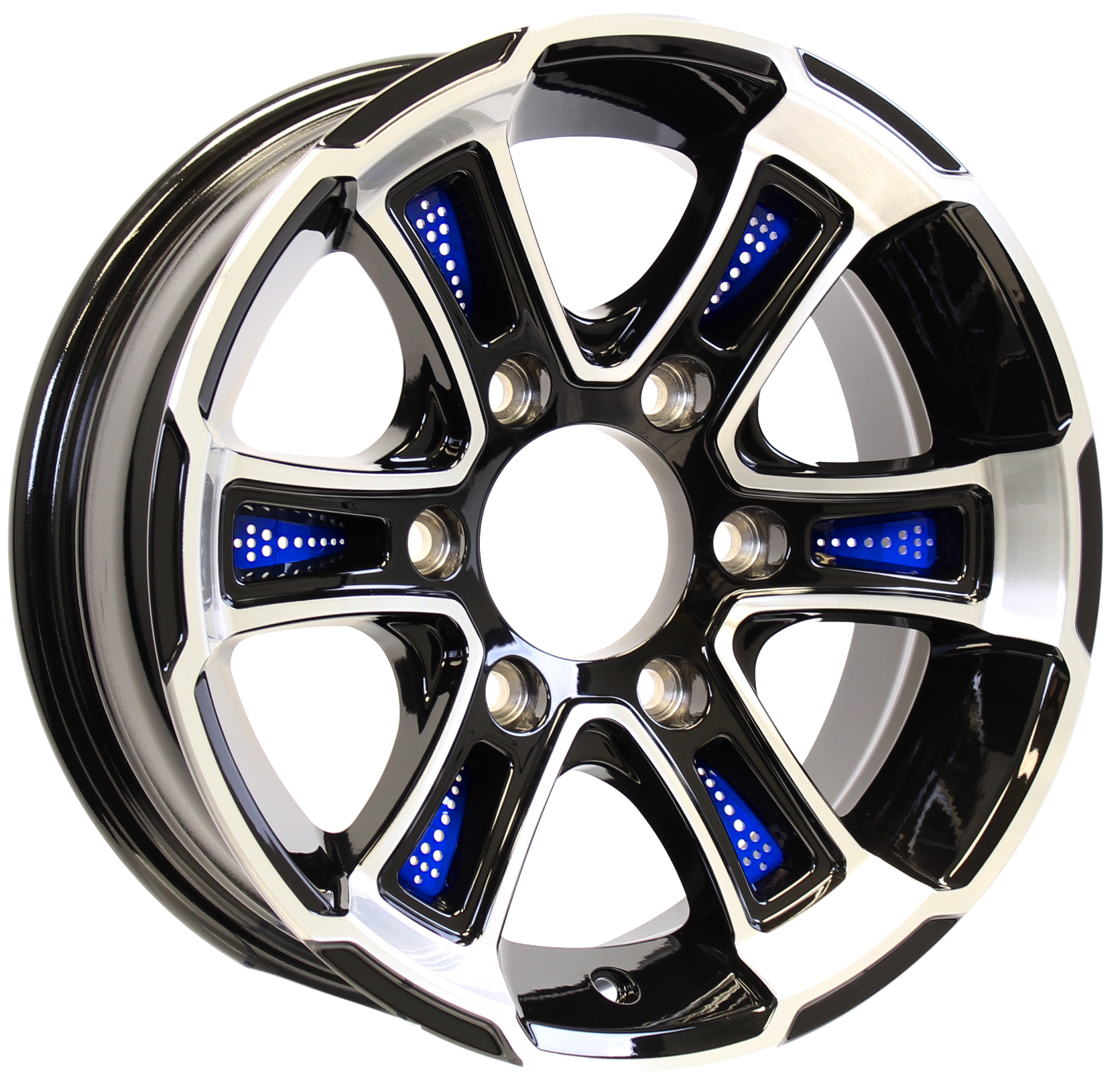Whitehawk 15x6 6-5.5 Black Aluminum Trailer Wheel with Blue Inserts Image