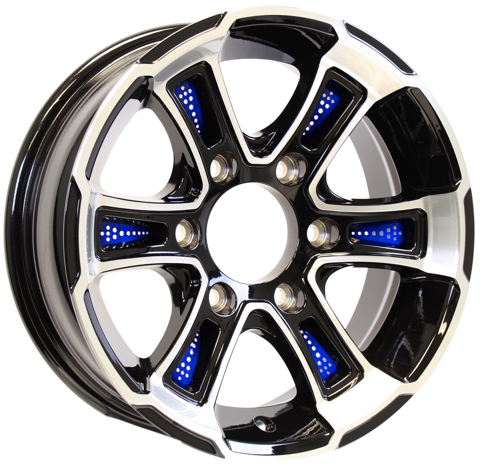 White Hawk 15x6 6-5.5 Black Aluminum Trailer Wheel with Blue Inserts Image