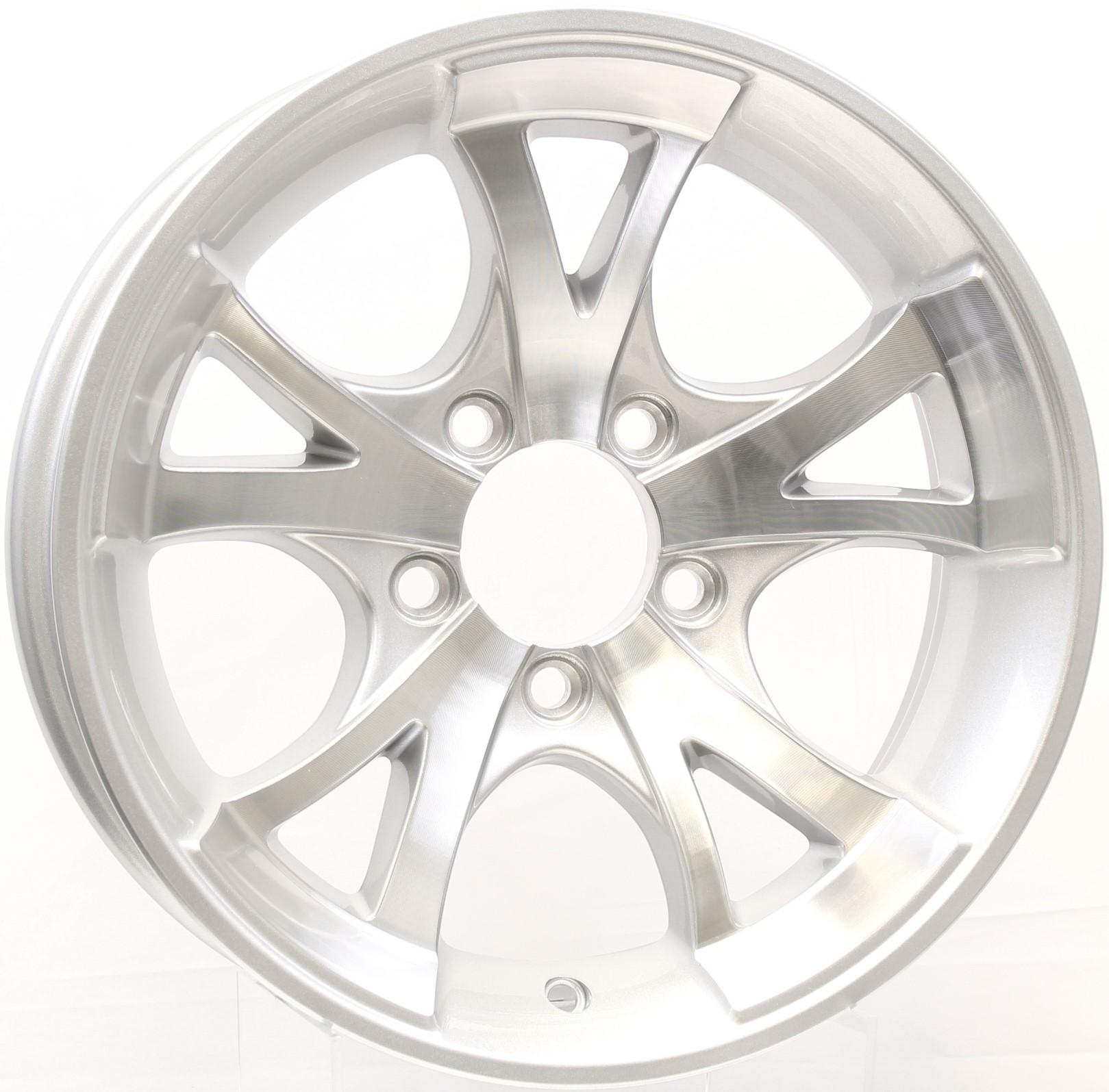 A411- 13x5 5-4.5Silver Aluminum Trailer Wheel Image