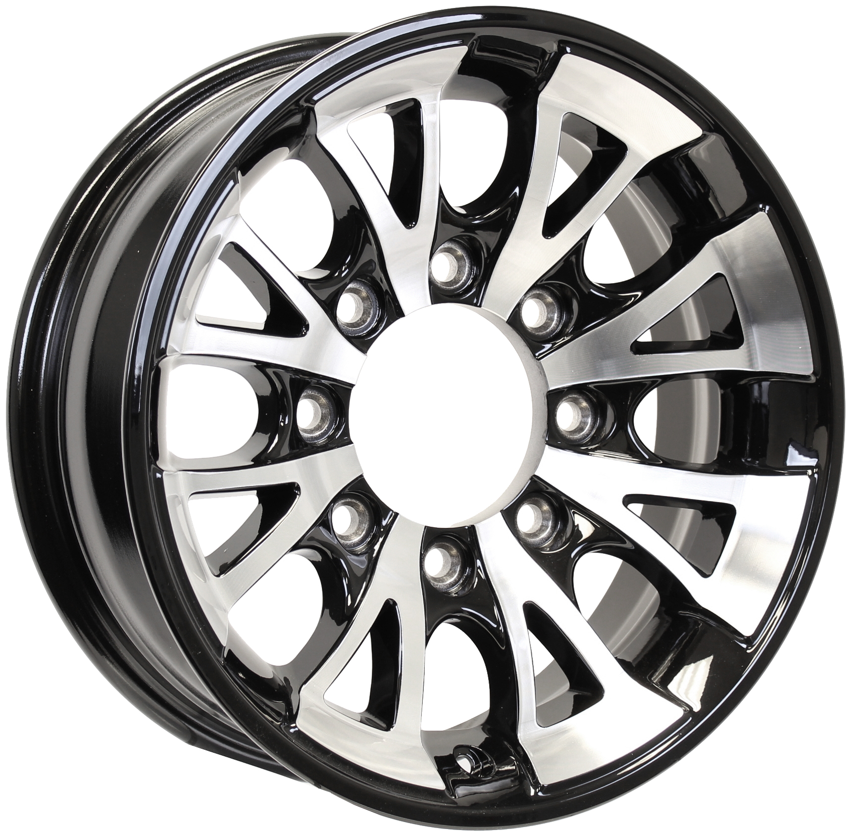 A1411 16x6; 8-Lug Black Aluminum Trailer Wheel Image