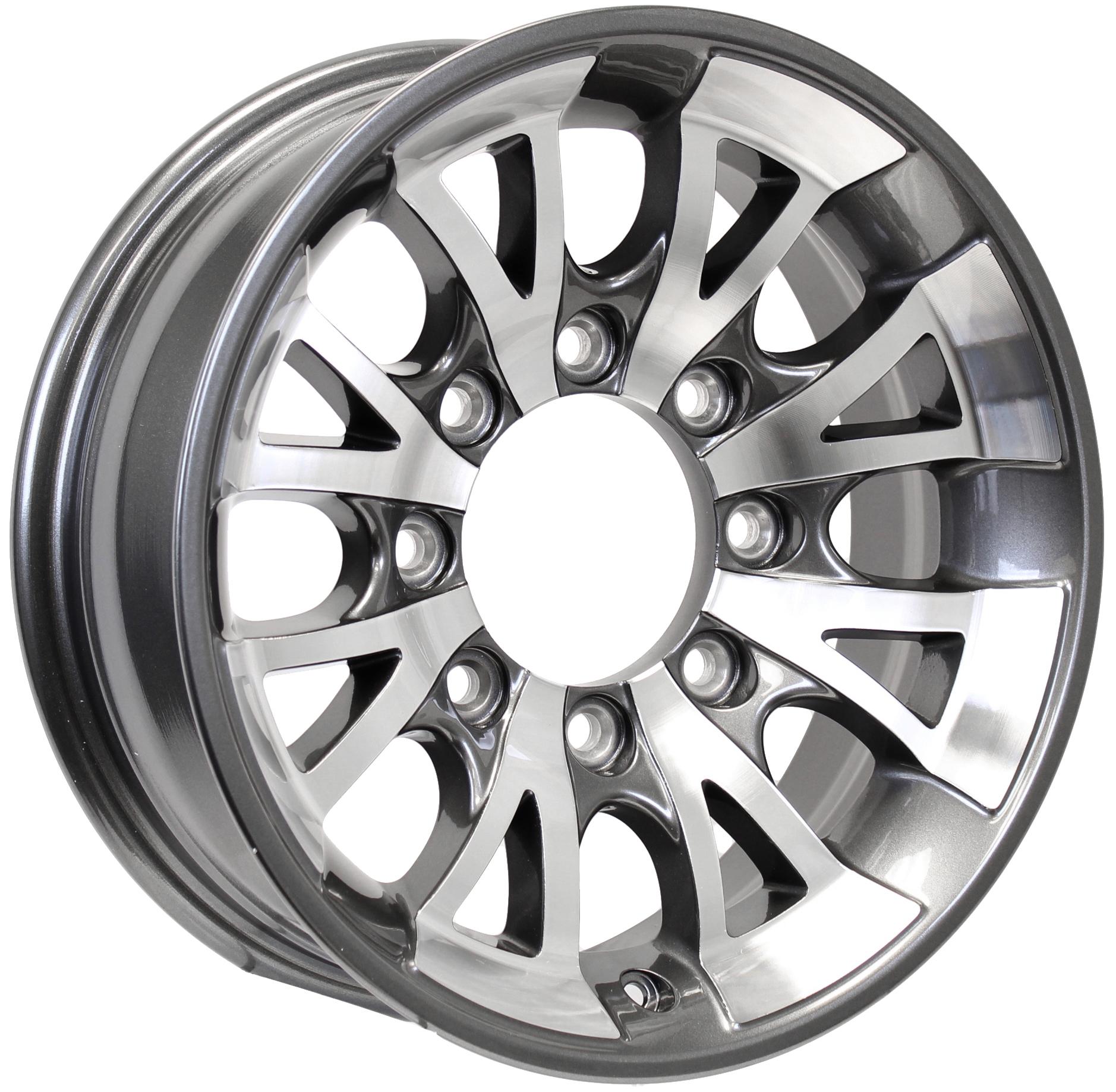 A1411 16x6; 8-Lug Gun Metal Aluminum Trailer Wheel Image