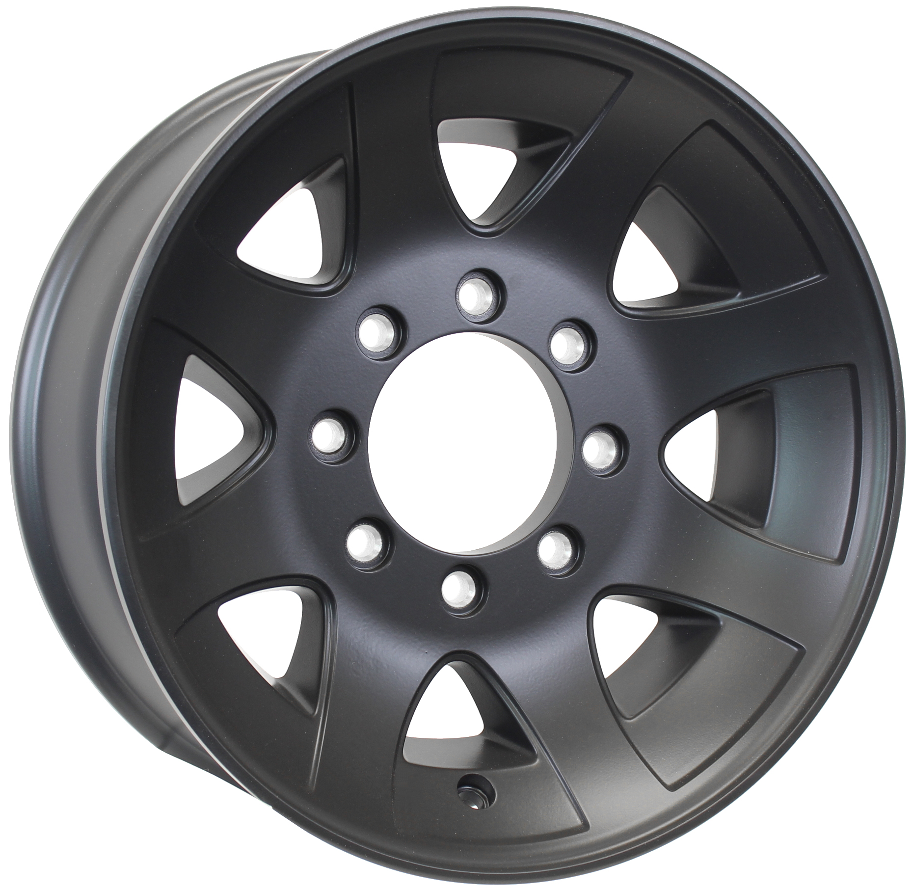 YF 17.5x6.75; 8-Lug Matte Black Spoke Aluminum Trailer Wheel  Image