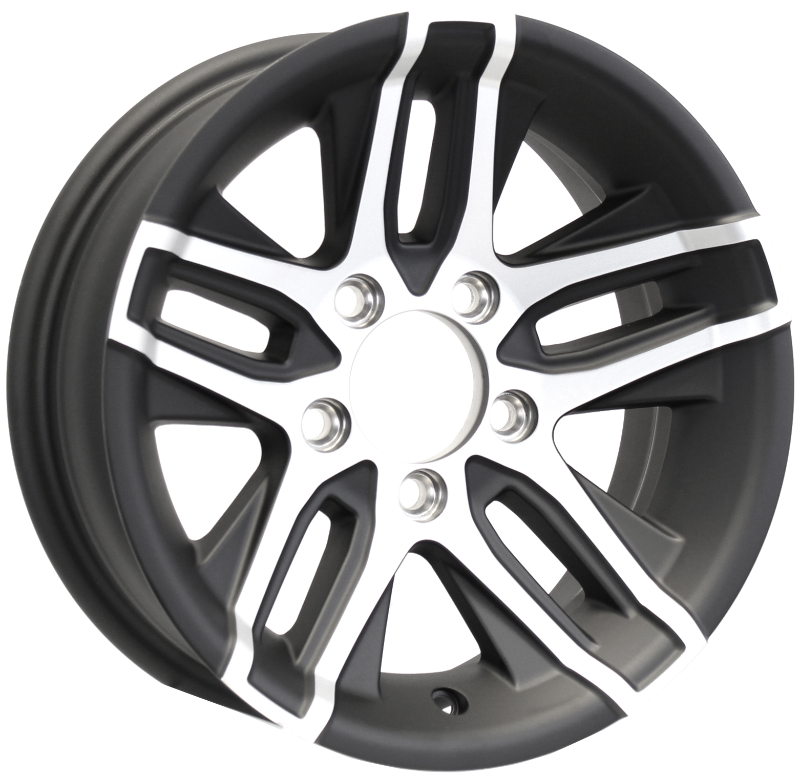Altitude 14x5.5 5-Lug Matte Black Aluminum Trailer Wheel Image