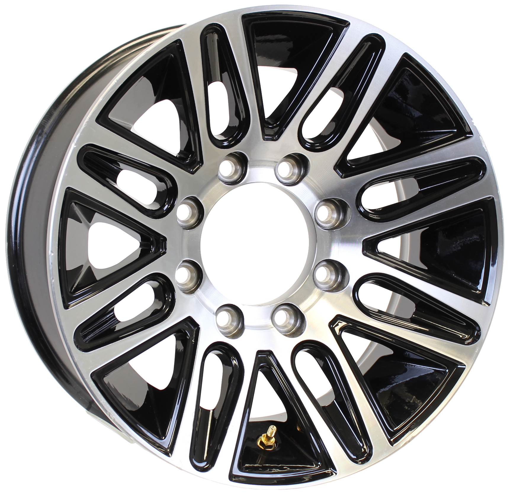 Pinnacle 17.5x6.75; 8-Lug Black Machine Aluminum Trailer Wheel Image