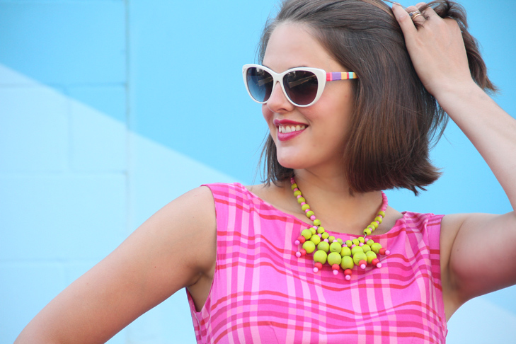 Simplicity 2444, Jessica Quirk, What I Wore, DIY, Self Made, Simplicity 2444, neon necklace DIY, DIY sunglasses