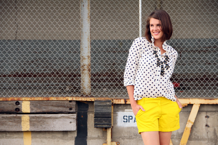 Jessica Quirk, What I Wore, Ignite Bloomington, My Digital Life, J.Crew, Yellow Shorts, Polka Dot Top, Sam Edelman Shoes