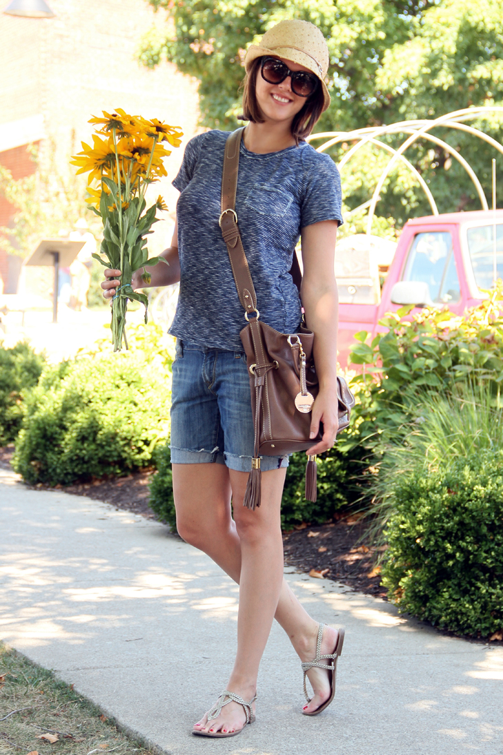 Farmer's Market, Jessica Quirk, What I Wore, Style Blog, Outfit Blog, Bloomington, Indiana, Jean Shorts, Madewell, Straw Hat