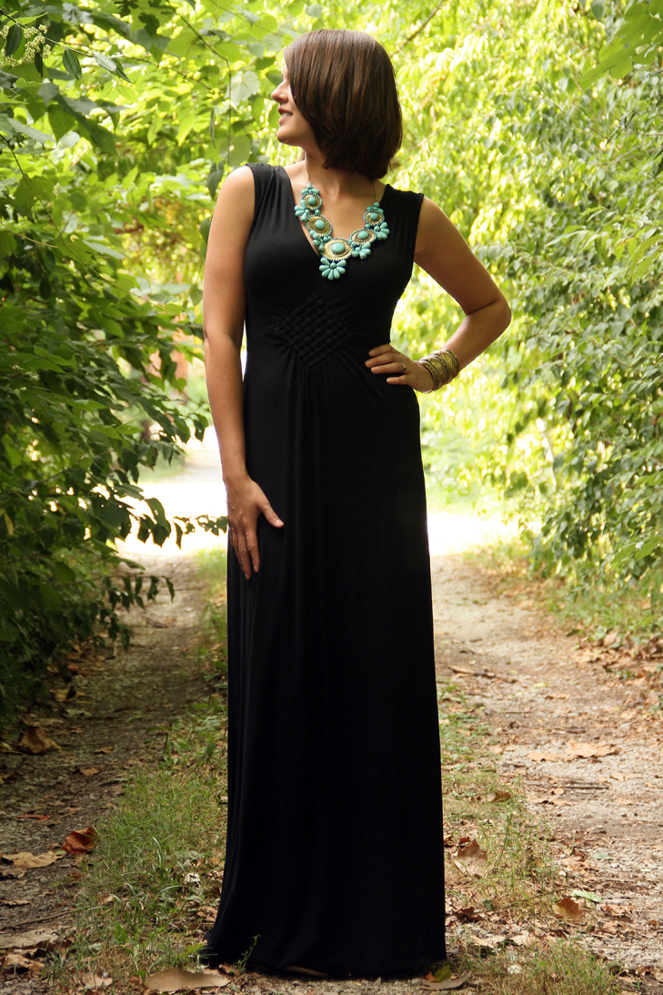 What I Wore, Jessica Quirk, Hostess Dress, Maxi Dress, Costume necklace, turquoise necklace, Long black dress, style blog, outfit blog
