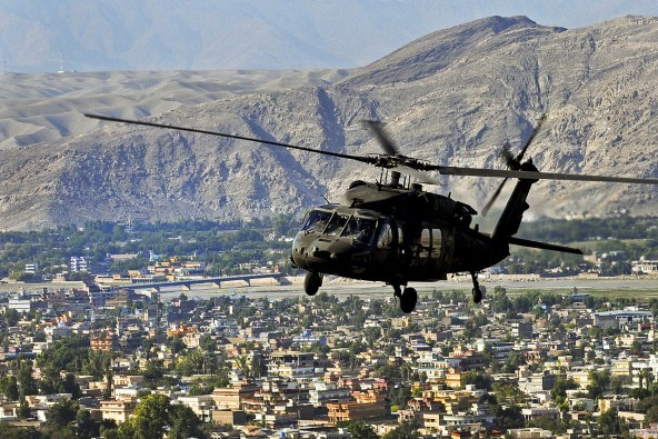 A U.S. Army UH-60L Black Hawk helicopter flies over the Nangarhar Province of Afghanistan on Oct. 17, 2013. The Black Hawk helicopter is routinely used to conduct logistical support, air assault, and medical evacuation mission in areas not easily accessible by land across eastern and northern Afghanistan.
