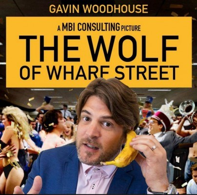 Gavin Woodhouse's take on the Wolf of Wall Street, posted on his Facebook page