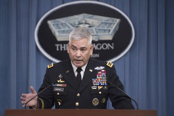 Army Gen. John F. Campbell, commander of U.S. forces in Afghanistan, conducts a press briefing at the Pentagon, Oct. 5, 2015. DoD photo by Senior Master Sgt. Adrian Cadiz
