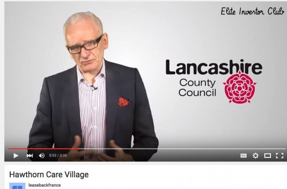 Graham Rowan promotes Hawthorn Care Village using Lancashire County Council logo