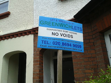 A Greenwich Lets sign outside an LHT property in Croydon