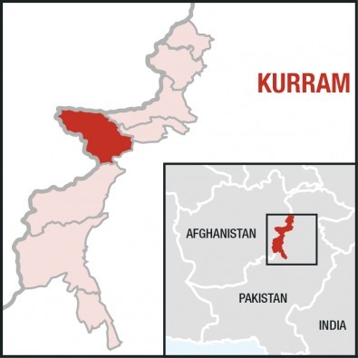 A map showing the outlines of the seven tribal agencies of Pakistan's Federally Administered Tribal Agencies. Kurram agency is coloured in red in order to show it projecting into southern Afghanistan like a spur.