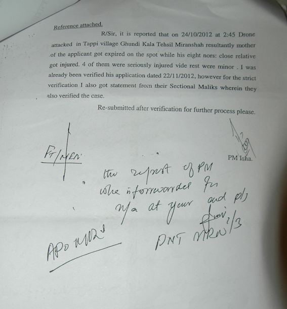 Letter from Political Agent to family of Mamana Bibi