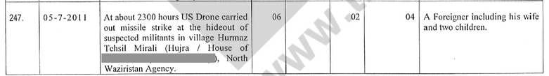 A record of the strike that killed Saifullah from an internal Pakistani document (TBIJ)