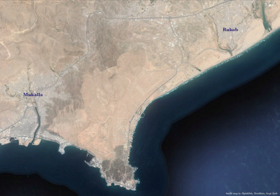 A Google Earth satellite picture of the Hadramout coast between Mukalla and Rukob