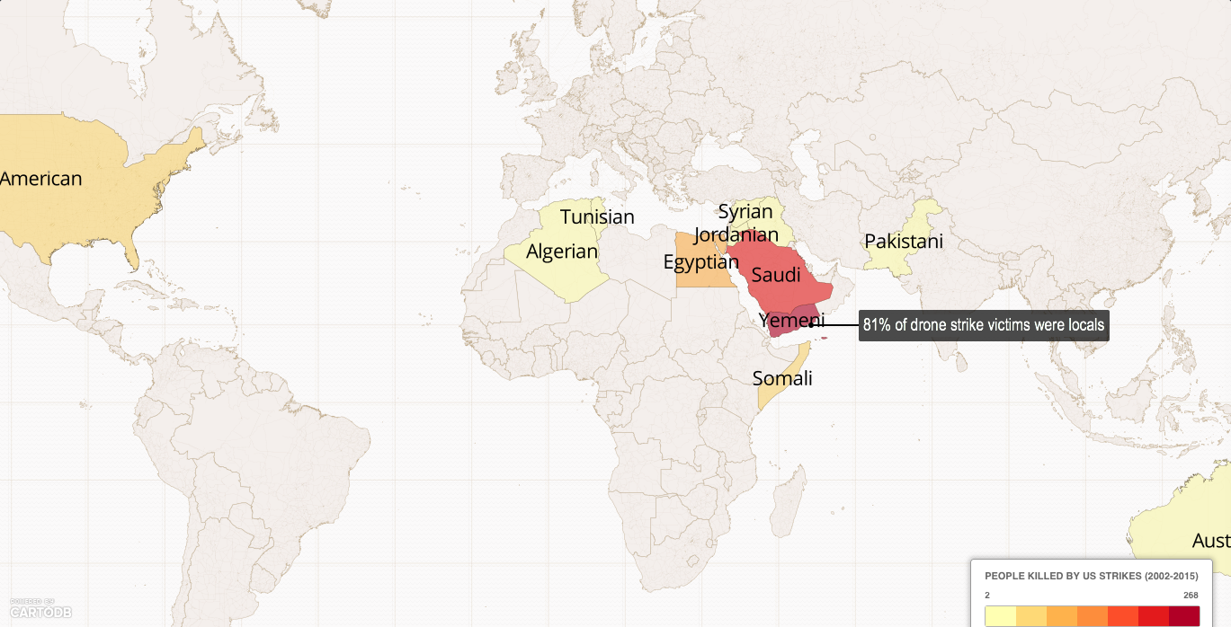 ANALYSIS Counting The Cost Of US Drones Local Wars Killing Local - Us drone strikes map